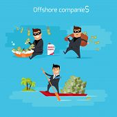 Offshore companies concept vector. Flat design. Financial crime, tax evasion, money laundering, political corruption illustration. Man in a business suit, in mask launderers, hides and takes money. poster