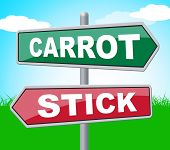 Carrot Stick Representing Target Enthusiasm And Display poster