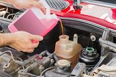 pink car coolant service in engine case poster