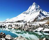 Shivling peak and beautiful lake in Himalayan poster