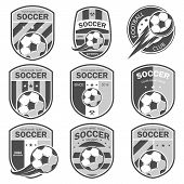 Vector illustration set of logos on football theme, as well as items for the game of football. It can be used as an emblem, logo and template for soccer tournaments. poster