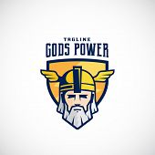 Gods Power Vector Sport Team or League Logo Template. Odin Face in a Shield, with Typography. Mighty Warrior Head in Helmet Mascot. Isolated. poster