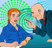 angry bald boss swears on the subordinate frightened in a pop art style poster