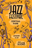 Musical creative poster with singer saxophone trumpet and contrabass players. Jazz festival design concept invitation. poster