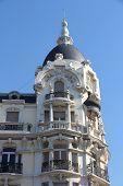 Madrid old architecture in Spain. Modernist landmark. poster