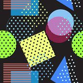 Style retro Memphis 80s or ' 90s-inspired fashion abstract background seamless pattern. triangles circles and lines. Good design for fabric wrapping paper and Wallpaper on the site. poster