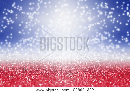 Abstract Patriotic Red White And Blue Glitter Sparkle Background For Party Invite, July Exploding Fi