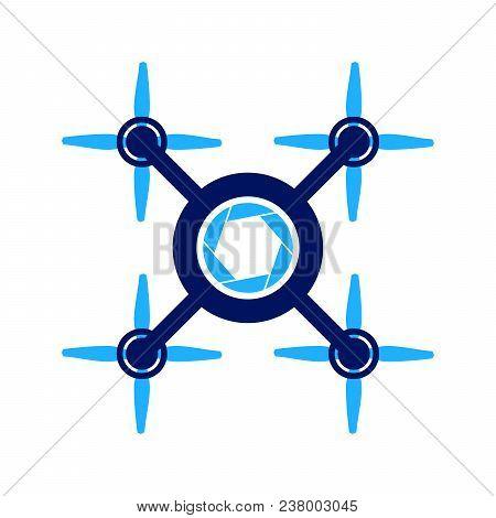 Four Propeller Aero Drone Photography Vector Symbol Graphic Logo Design