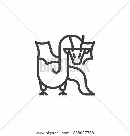 dragon outline icon linear style sign for mobile concept and web design fairy dragon simple line vector icon symbol logo illustration