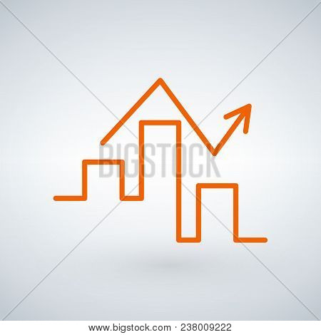 Linear Graph Icon In Trendy Flat Style Isolated On Modern Background. Chart Bar Symbol For Your Web