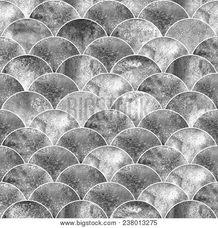 Fish Scale Ocean Wave Japanese Seamless Pattern. Watercolor Hand Drawn Black White Gray Colorful Tex