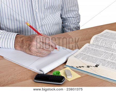 Mature Student With Dictionary
