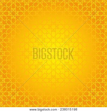 Arabesque Geometric Seamless Contour Yellow Pattern. Background, Mosaic Ornament, Ethnic Style. Desi