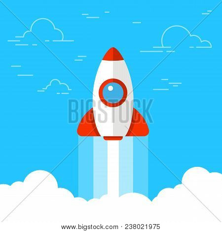 Rocket Launch, Ship. Concept Of Starting Or Launching A New Business. Startup. Flat Vector Illustrat