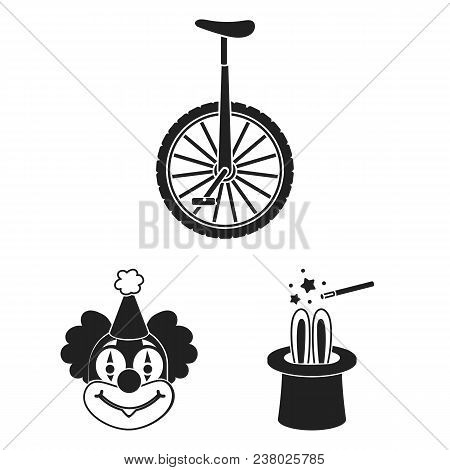 Circus And Attributes Black Icons In Set Collection For Design. Circus Art Vector Symbol Stock  Illu