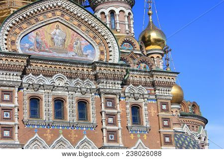 Architecture Of Old Historic Religious Cathedral With Decorative Facade Details On Front Building Wa
