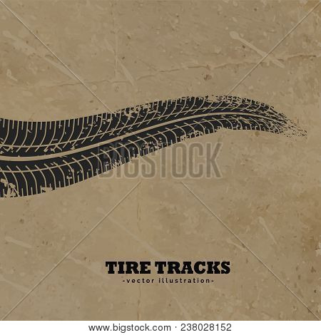 Tire Tracks On Mud Background Vector Design
