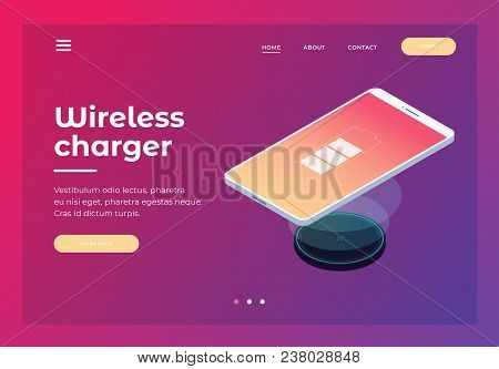 Header For Website With Picture Of Wireless Charger For Smartphone. Design For Landing Page. Modern