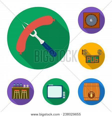 Pub, Interior And Equipment Flat Icons In Set Collection For Design. Alcohol And Food Vector Symbol