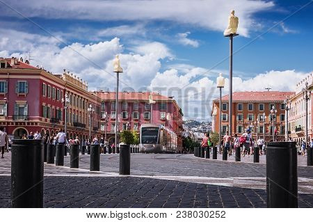 Nice, Alpes-maritimes Department,french Riviera,august 11, 2017, Place Massena.turists On The Street