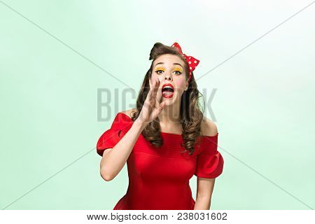 Beautiful Young Woman With Pin-up Make-up And Hairstyle. Happy, Smiling And Pretty Female Caucasian
