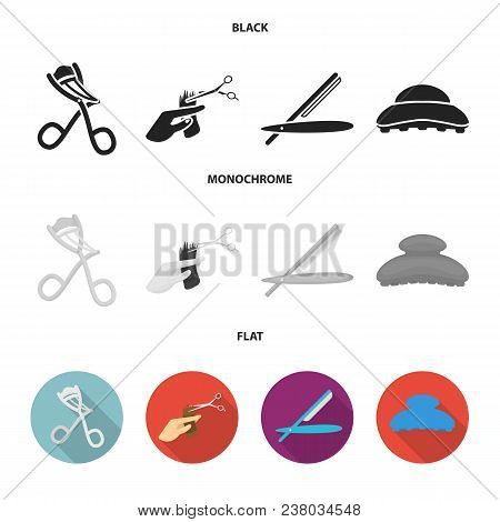 Scissors, Brush, Razor And Other Equipment. Hairdresser Set Collection Icons In Black, Flat, Monochr