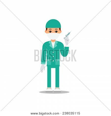 Doctor Isolated. Young Physician Stands And Holds A Syringe In His Hand. Cartoon Illustration Isolat