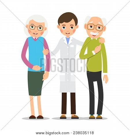 Doctor And Patient. Young Physician Stands And Supports An Elderly Woman And Man. Cartoon Illustrati