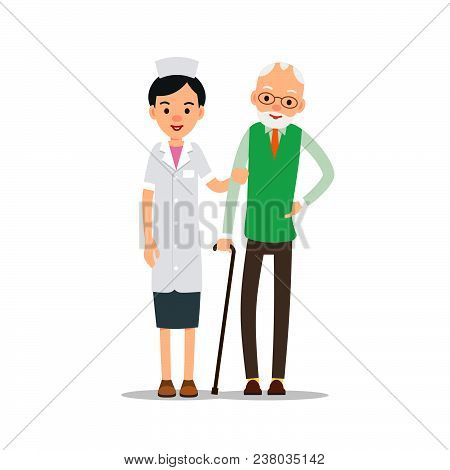Nurse And Patient. Young Physician Stands And Supports An Elderly Man. Cartoon Illustration Isolated