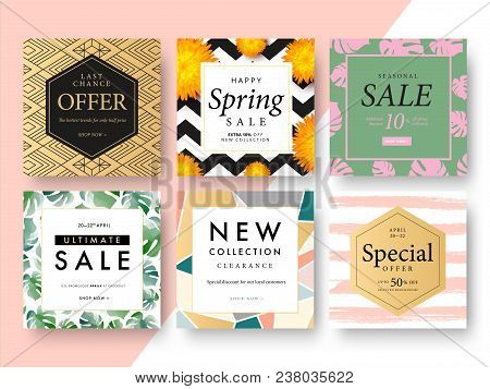 Modern Promotion Square Web Banner For Social Media Mobile Apps. Elegant Sale And Discount Promo Bac