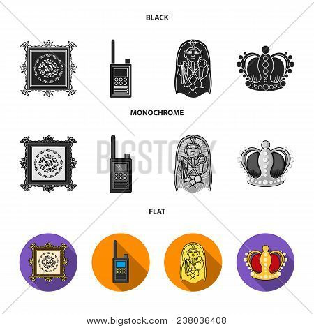 Picture, Sarcophagus Of The Pharaoh, Walkie-talkie, Crown. Museum Set Collection Icons In Black, Fla