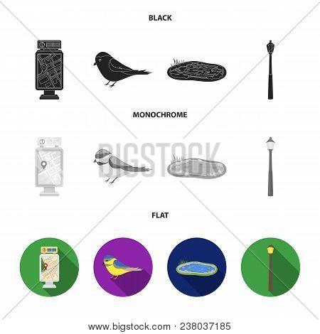 Territory Plan, Bird, Lake, Lighting Pole. Park Set Collection Icons In Black, Flat, Monochrome Styl
