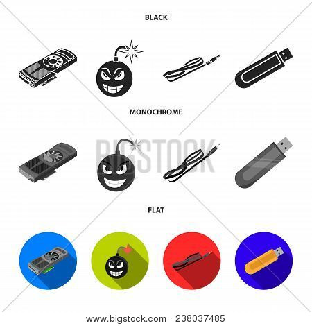 Video Card, Virus, Flash Drive, Cable. Personal Computer Set Collection Icons In Black, Flat, Monoch