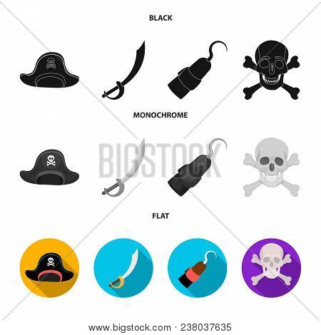 Pirate, Bandit, Cap, Hook .pirates Set Collection Icons In Black, Flat, Monochrome Style Vector Symb
