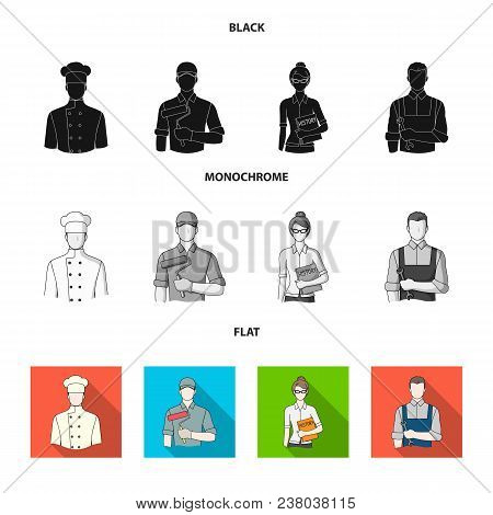 Cook, Painter, Teacher, Locksmith Mechanic.profession Set Collection Icons In Black, Flat, Monochrom