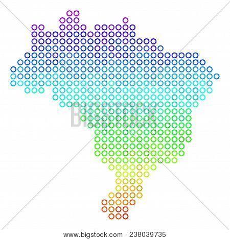 Spectrum Brazil Map. Vector Geographic Map In Bright Spectrum Color Hues. Spectrum Has Vertical Grad
