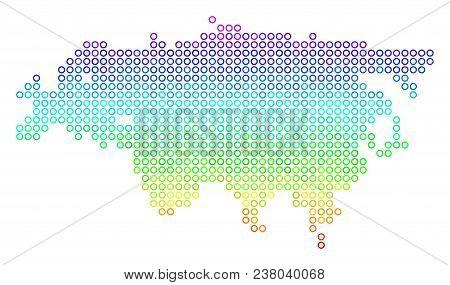 Spectrum Eurasia Map. Vector Geographic Map In Bright Spectrum Color Color Tints. Spectrum Has Verti