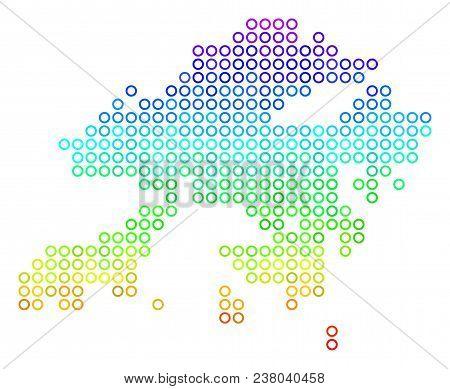 Spectrum Hong Kong Map. Vector Geographic Map In Bright Spectrum Color Tones. Spectrum Has Vertical