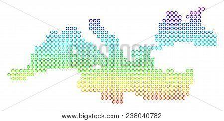 Spectrum Mediterranean Sea Map. Vector Geographic Map In Bright Spectrum Color Tinges. Spectrum Has