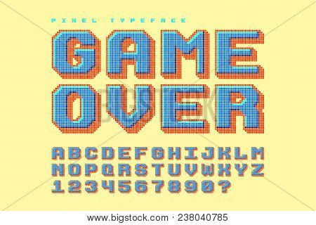 Pixel Vector Font Design, Stylized Like In 8-bit Games. 3d Effect, Retro-futuristic, Game Over Sign.
