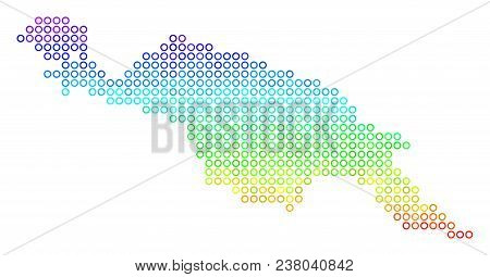 Spectrum New Guinea Island Map. Vector Geographic Map In Bright Spectrum Color Color Tints. Spectrum