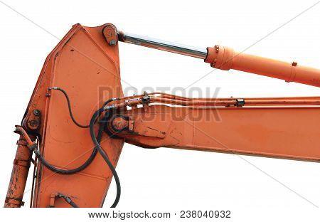 Old Generic Excavator Dipper Boom Bucket Ram Horizontal Closeup, Isolated Aged Weathered Orange Yell