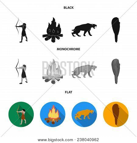 Man, Hunter, Onion, Bonfire .stone Age Set Collection Icons In Black, Flat, Monochrome Style Vector