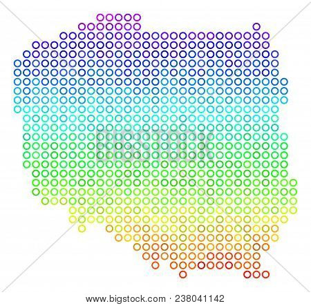 Spectrum Poland Map. Vector Geographic Map In Bright Spectral Color Tinges. Spectrum Has Vertical Gr