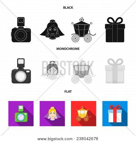 Bride, Photographing, Gift, Wedding Car. Wedding Set Collection Icons In Black, Flat, Monochrome Sty