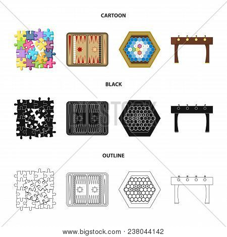 Board Game Cartoon, Black, Outline Icons In Set Collection For Design. Game And Entertainment Vector