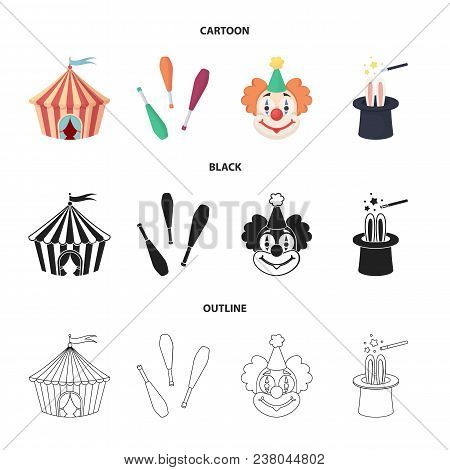 Circus Tent, Juggler Maces, Clown, Magician Hat.circus Set Collection Icons In Cartoon, Black, Outli