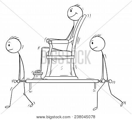 Cartoon Stick Man Drawing Conceptual Illustration Of Nobleman, Ruler Or Superior Sitting In Sedan Ch