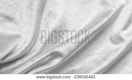 Slver White Velvet Background Or Velour Flannel Texture Made Of Cotton Or Wool With Soft Fluffy Velv