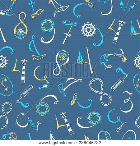 Lettering Numbers 1, 2, 3, 4, 5, 6, 7, 8, 9, 0 Marine Elements. Hand Drawn Vector Illustration. Sail